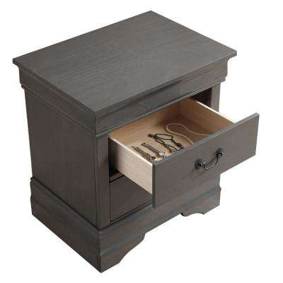 Louis Philippe III Gray Contemporary Style Nightstand