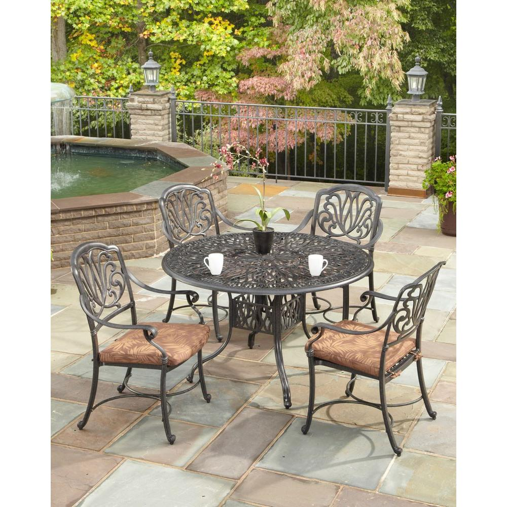 Home Styles Floral Blossom 42 in. Round 5-Piece Stationary Patio Dining Set with Burnt Sierra Leaf Cushions