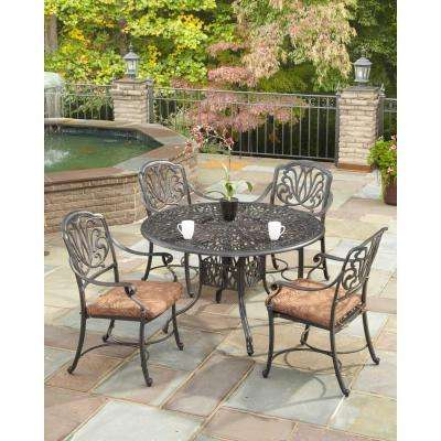 Floral Blossom 42 in. Round 5-Piece Stationary Patio Dining Set with Burnt Sierra Leaf Cushions