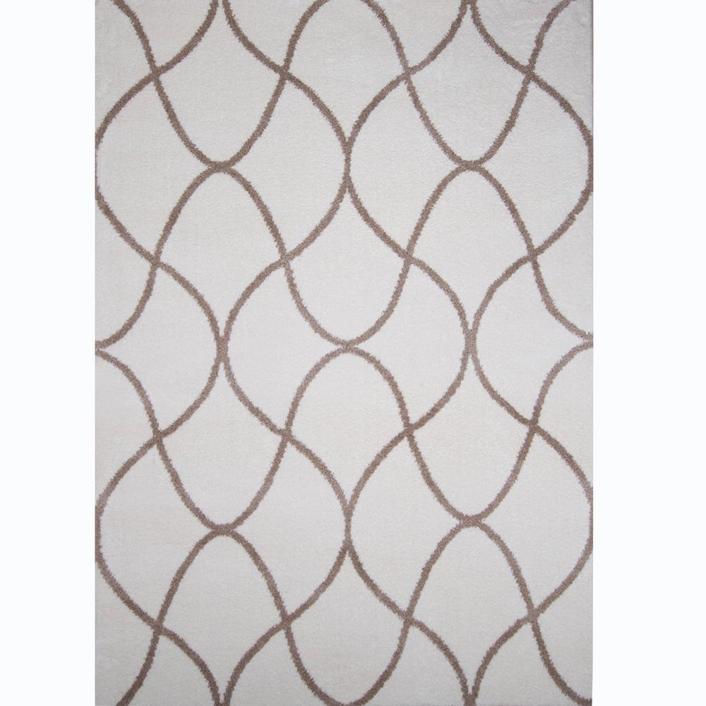 Ramapo Ivory/Beige Microfiber Shag 3 ft. 3 in. x 4 ft.