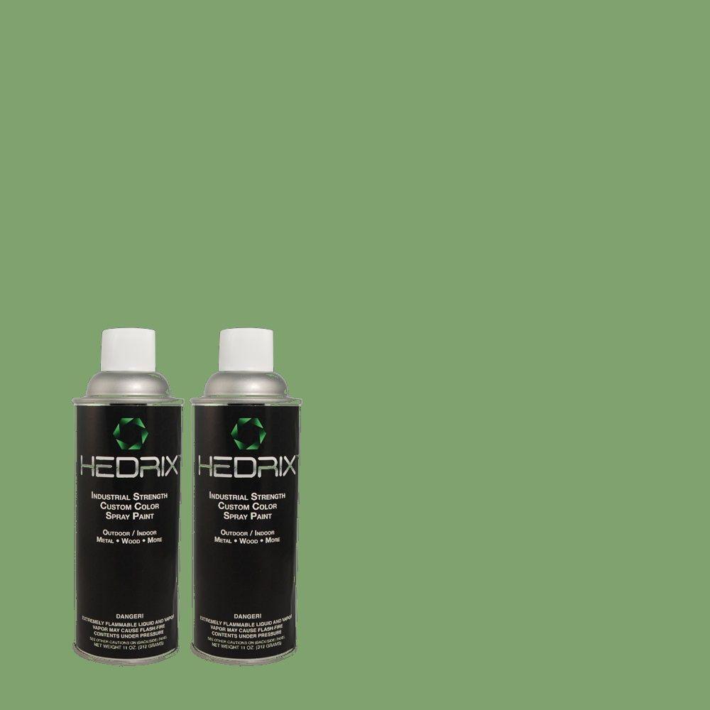 Hedrix 11 oz. Match of 1A53-5 Green Summit Semi-Gloss Custom Spray Paint (2-Pack)