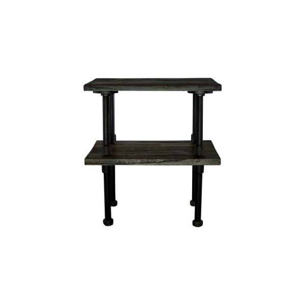 Furniture Pipeline Corvallis Farmhouse Industrial, Black Pipe Side/End Table