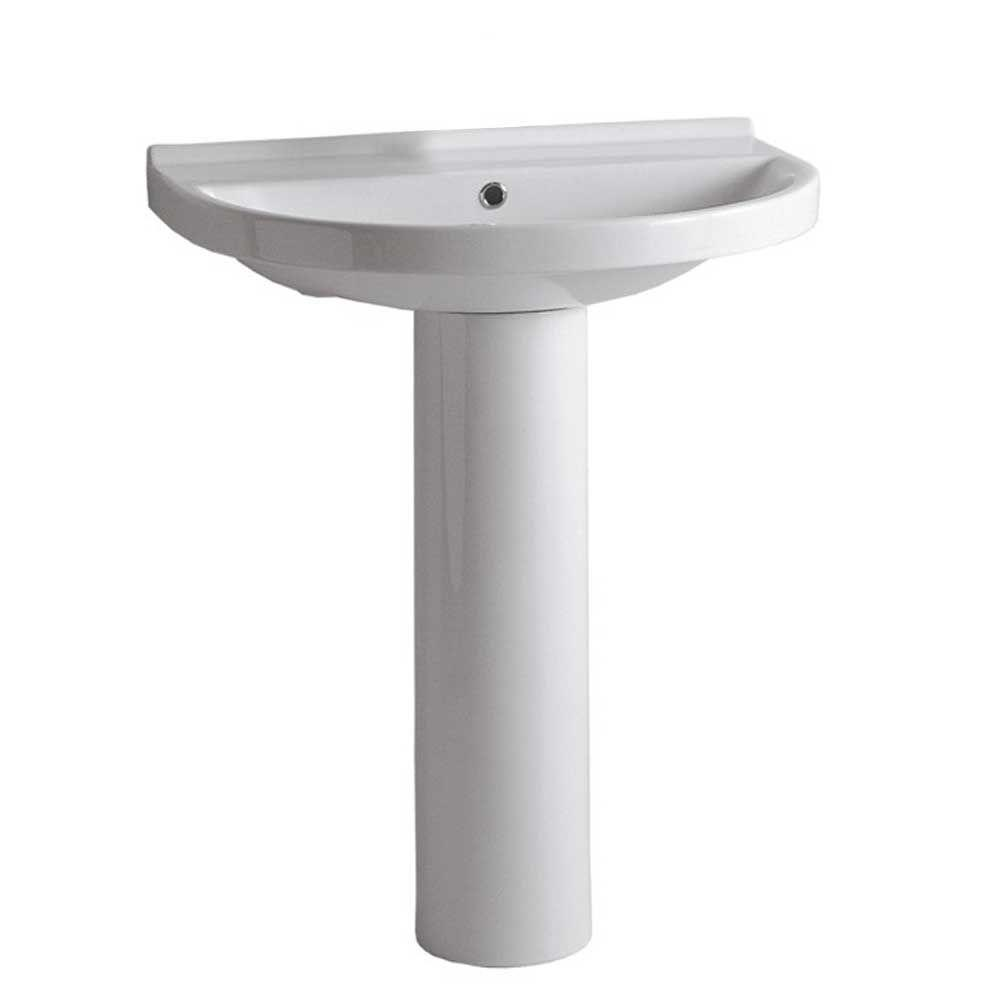 Whitehaus Collection Isabella Pedestal Combo Bathroom Sink And Chrome Overflow In White