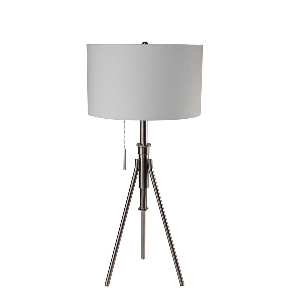 H Mid Century Adjustable Tripod Silver Table Lamp