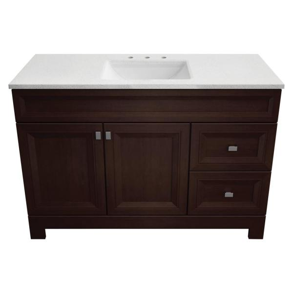 Home Decorators Collection Sedgewood 48 1 2 In W Bath Vanity In Dark Cognac With Solid Surface Technology Vanity Top In Arctic With White Sink Pplnkdcg48d The Home Depot