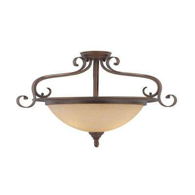 3-Light Rubbed Bronze Semi Flush Mount and Turinian Scavo Glass