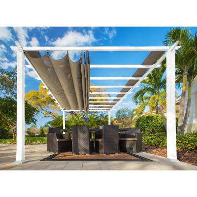 Paragon 11 ft. x 16.5 ft. White Aluminum Pergola with Sand Color Canopy