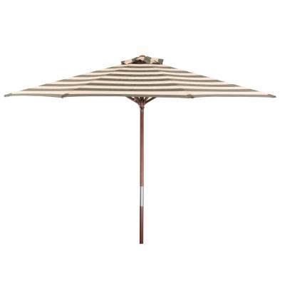 9 ft. Wood Market Patio Umbrella in Soft Black and Ivory Stripe Solution Dyed Polyester