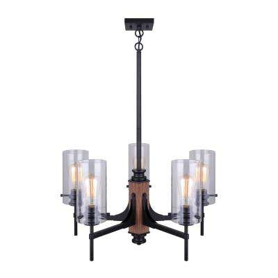 Arlie 5-Light Matte Black and Faux Wood Chandelier with Clear Glass Shades