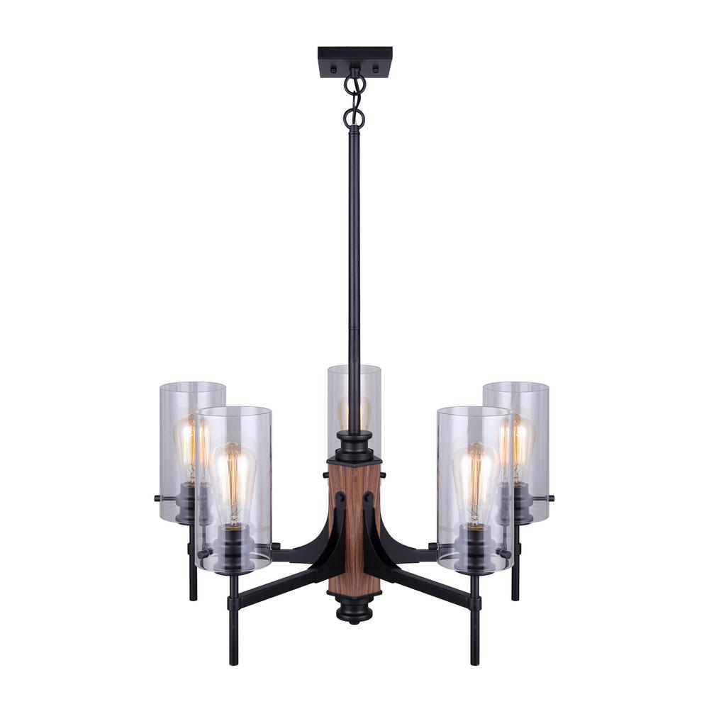CANARM Arlie 5-Light Matte Black and Faux Wood Chandelier with Clear Glass Shades