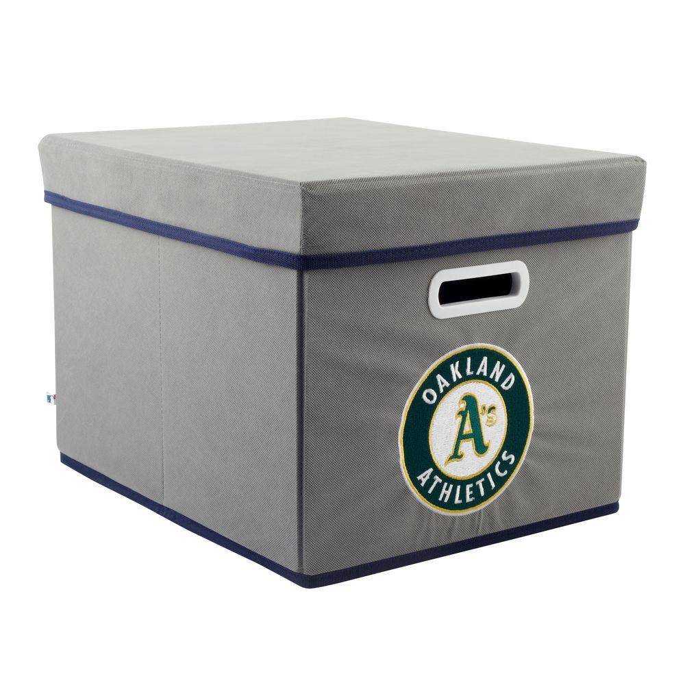MyOwnersBox MLB STACKITS Oakland Athletics 12 in. x 10 in. x 15 in. Stackable Grey Fabric Storage Cube