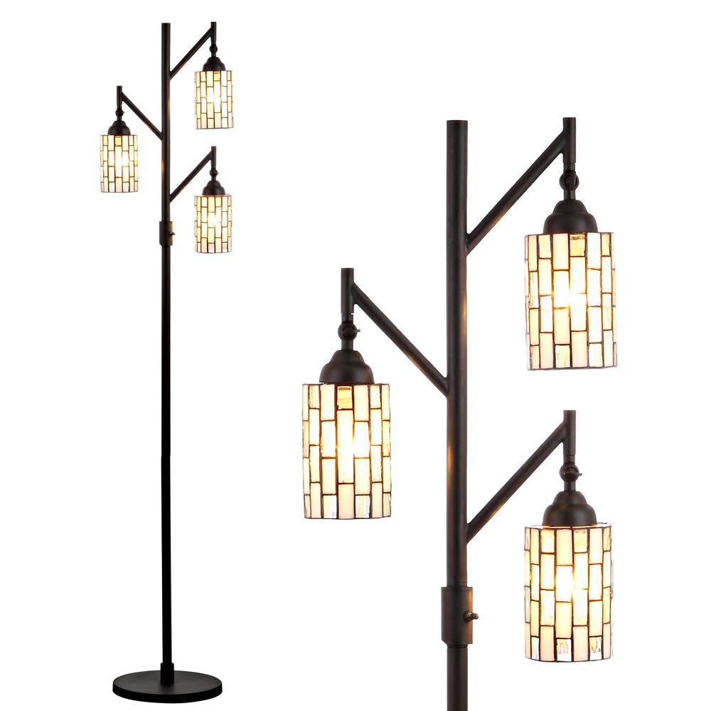 JONATHAN Y Lewis Tiffany-Style 71 in. Multi-Light Bronze Floor Lamp