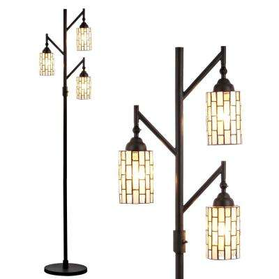 Lewis Tiffany-Style 71 in. Multi-Light Bronze Floor Lamp