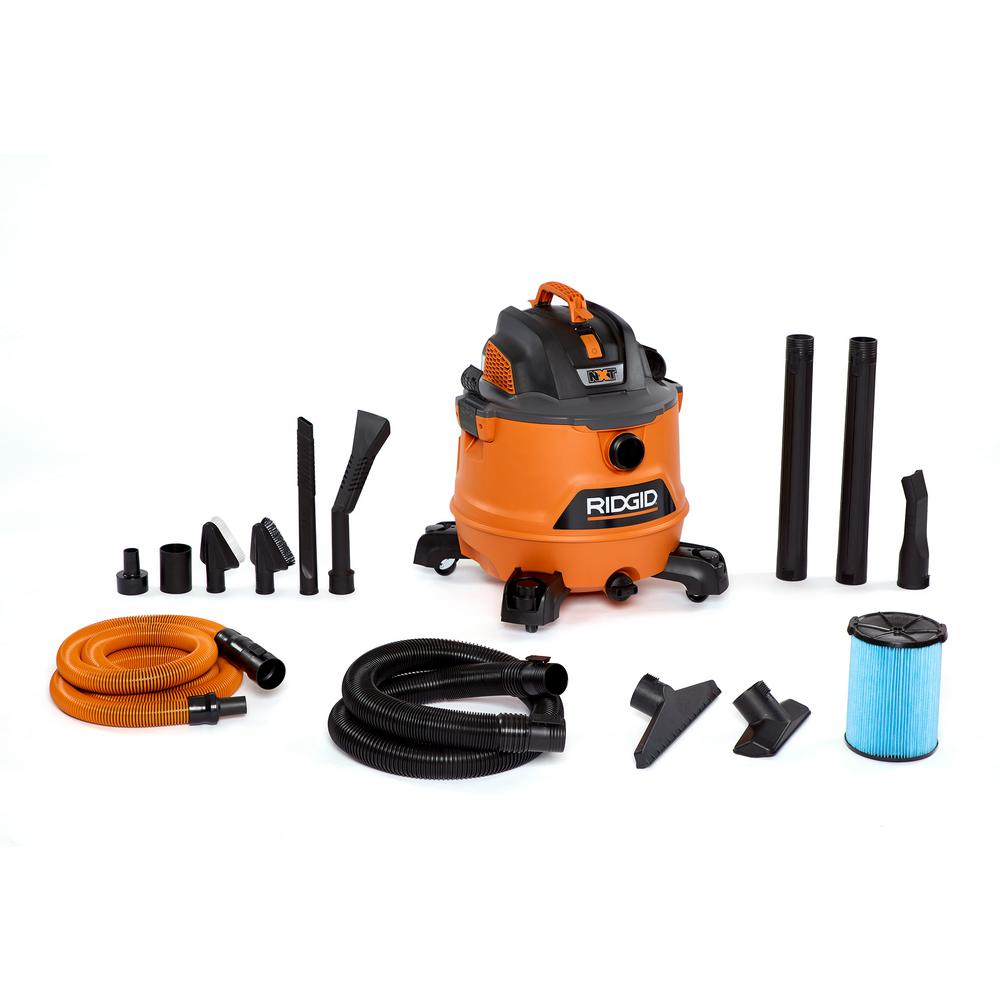 RIDGID RIDGID 14 Gal. 6.0-Peak HP NXT Wet/Dry Shop Vacuum with Fine Dust Filter, Hose, Accessories and Premium Car Cleaning Kit, Oranges/Peaches