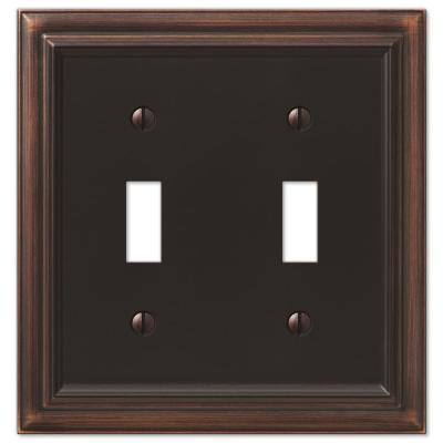 Continental 2 Gang Toggle Metal Wall Plate - Aged Bronze