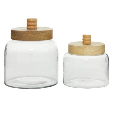 Cylindrical Clear Glass Jar with Brown Wood Lid (Set of 2)