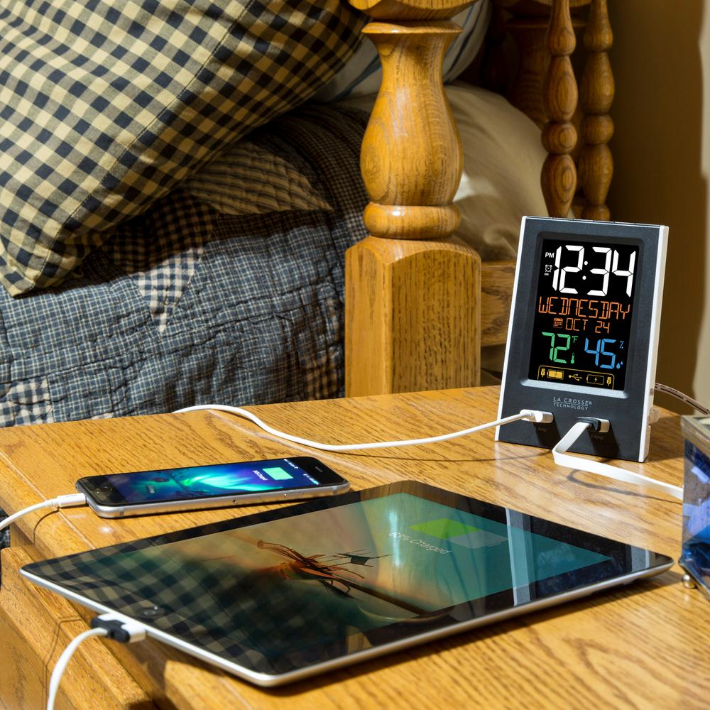 Desktop Dual USB Charging Clock with Alarm and Nap Timer