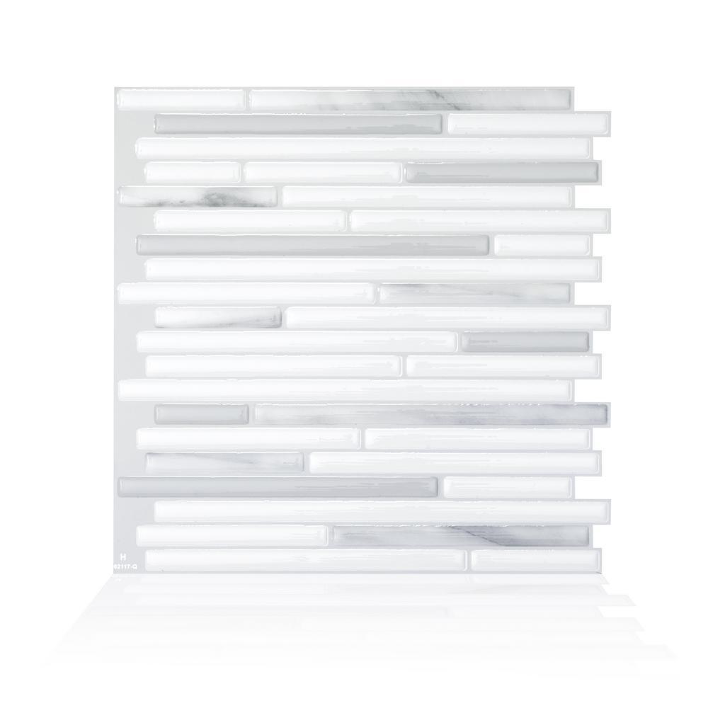 Smart Tiles Capri Addario Grey 9.88 in. W x 9.70 in. H Peel and Stick Self-Adhesive Decorative Mosaic Wall Tile Backsplash (4-Pack)