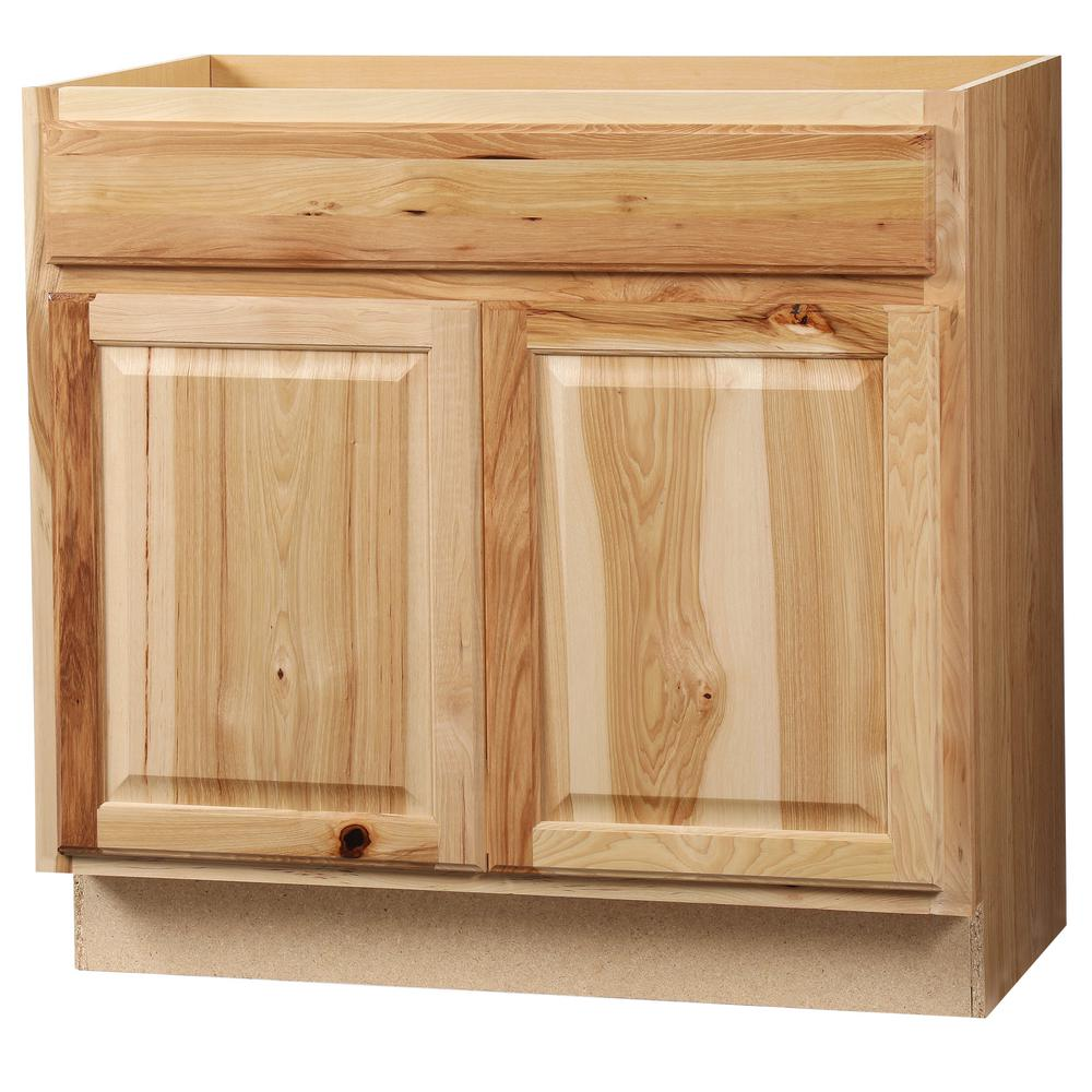 Hampton Bay Hampton Assembled 36 X 34.5 X 21 In. Bathroom Vanity Base Cabinet In Natural Hickory