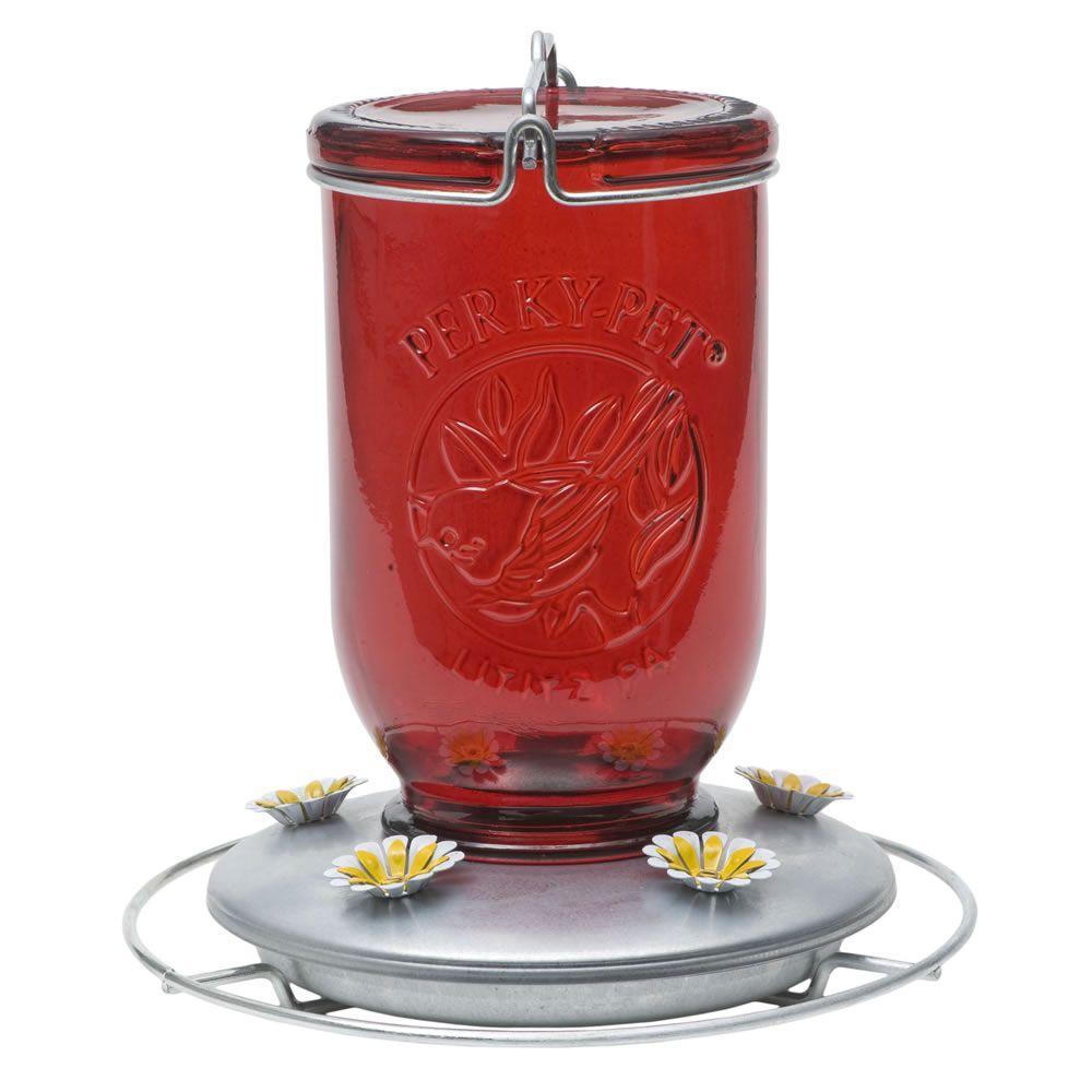 Red Mason Jar Glass Hummingbird Feeder