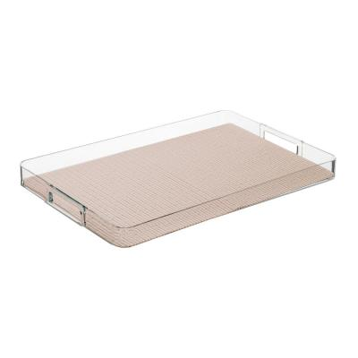 Fishnet Tan 19 in.W x 1.5 in.H x 13 in.D Rectangular Lucite Serving Tray