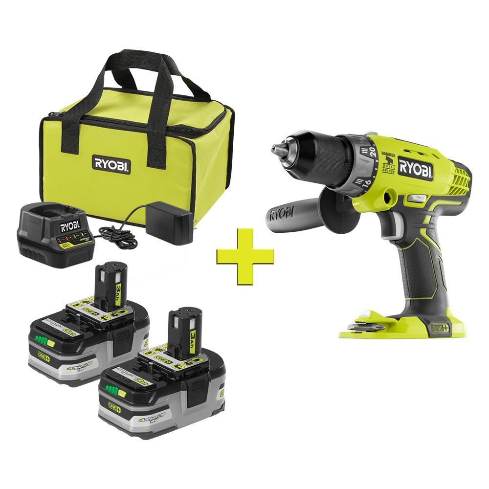RYOBI 18-Volt ONE+ LITHIUM+ HP 3 0 Ah Battery (2-Pack) Starter Kit with  Charger and Bag with Bonus ONE+ Hammer Drill/Driver
