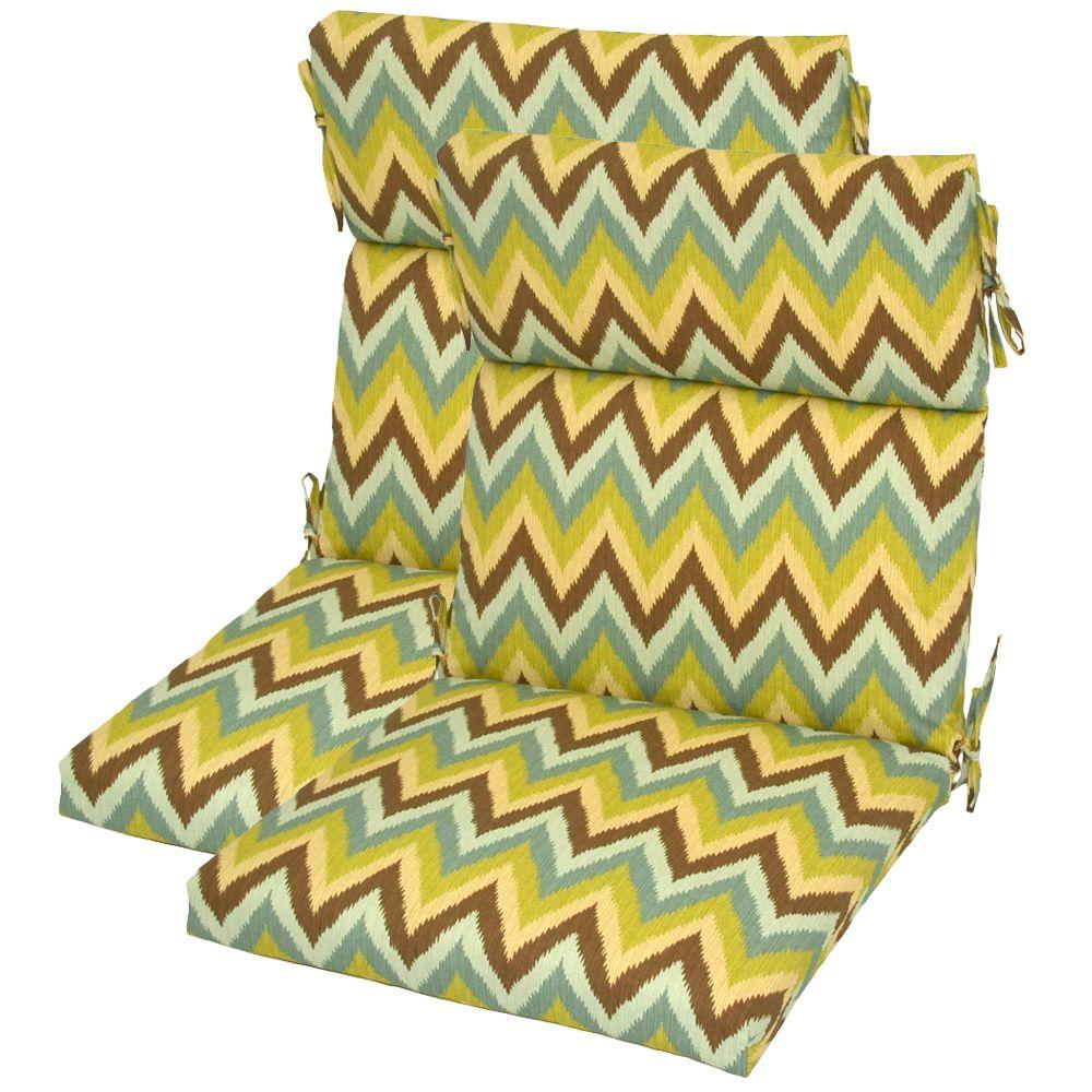 Hampton Bay Piper High Back Outdoor Chair Cushion (2-Pack)