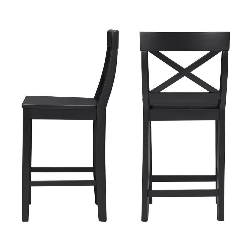 Super Stylewell Cedarville Black Wood Counter Stool With Cross Spiritservingveterans Wood Chair Design Ideas Spiritservingveteransorg
