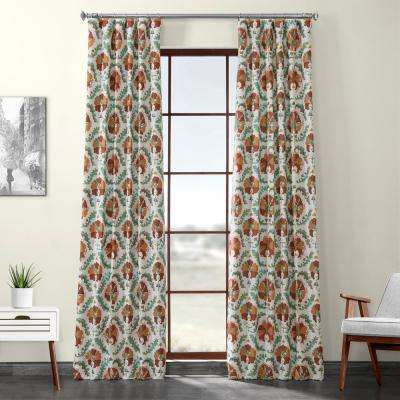 Tribeca Hibiscus Multi-Colored Printed Linen Textured Blackout Curtain - 50 in. W x 120 in. L (1-Panel)