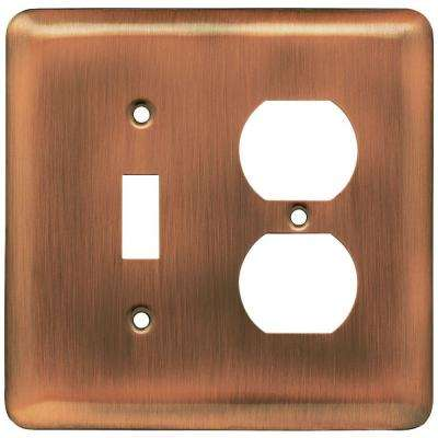 Stamped Round Decorative Switch and Duplex Outlet Cover, Antique Copper