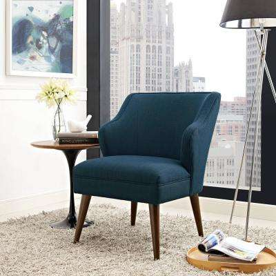 Swell Azure Upholstered Fabric Armchair