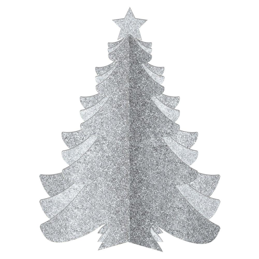 christmas 3d silver glitter tree decorations 3 pack
