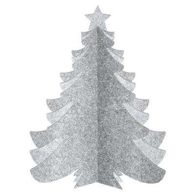 10.25 in. Christmas 3D Silver Glitter Tree Decorations (3-Pack)