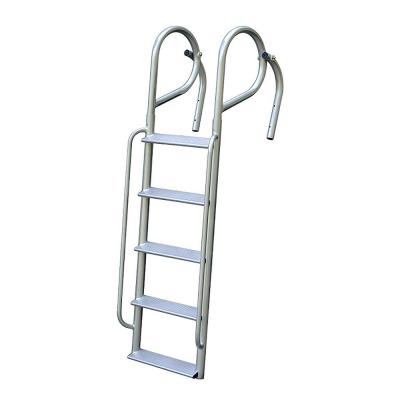 5-Rung Wide Step Aluminum Swing Ladder with Handrails