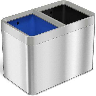 5.3 Gal. Dual Compartment Slim Open Top Waste Bin for Trash Can and Recycle Container
