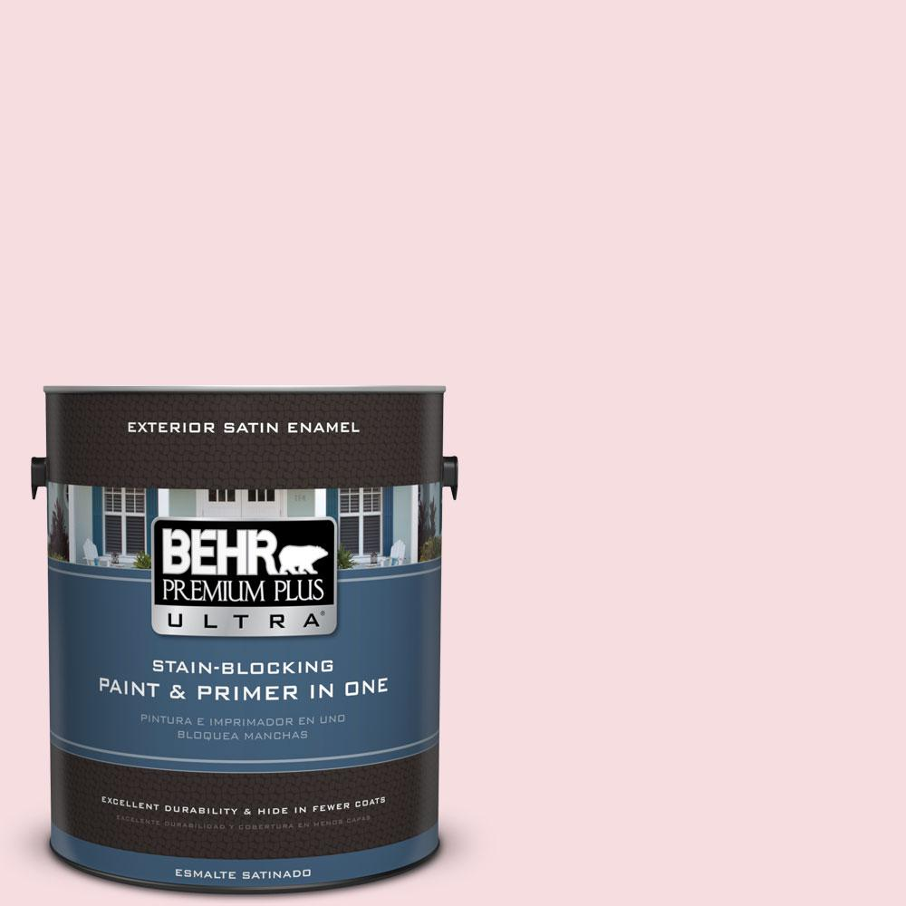 BEHR Premium Plus Ultra 1-gal. #120A-2 Delicate Rose Satin Enamel Exterior Paint