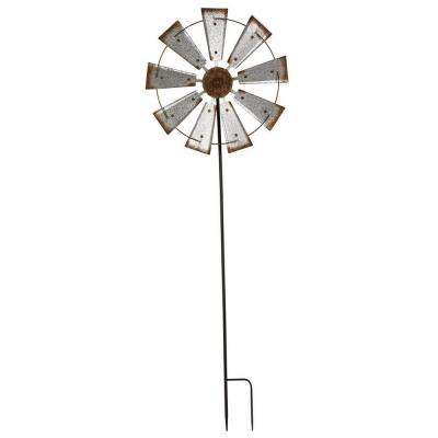 69.4 in. H Farmhouse Metal Galvanized Wind Spinner Yard Stake or Wall Decor