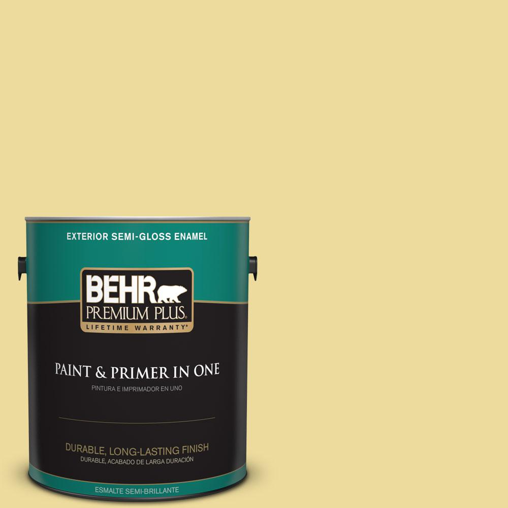 BEHR Premium Plus 1-gal. #P330-3 Pear Cider Semi-Gloss Enamel Exterior Paint, Yellows/Golds