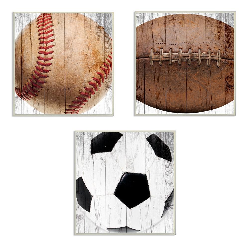 "12 in. x 12 in. ""Baseball Football Soccer Wood Planks"" by Brandi Fitzgerald PrintedWood Wall Art"