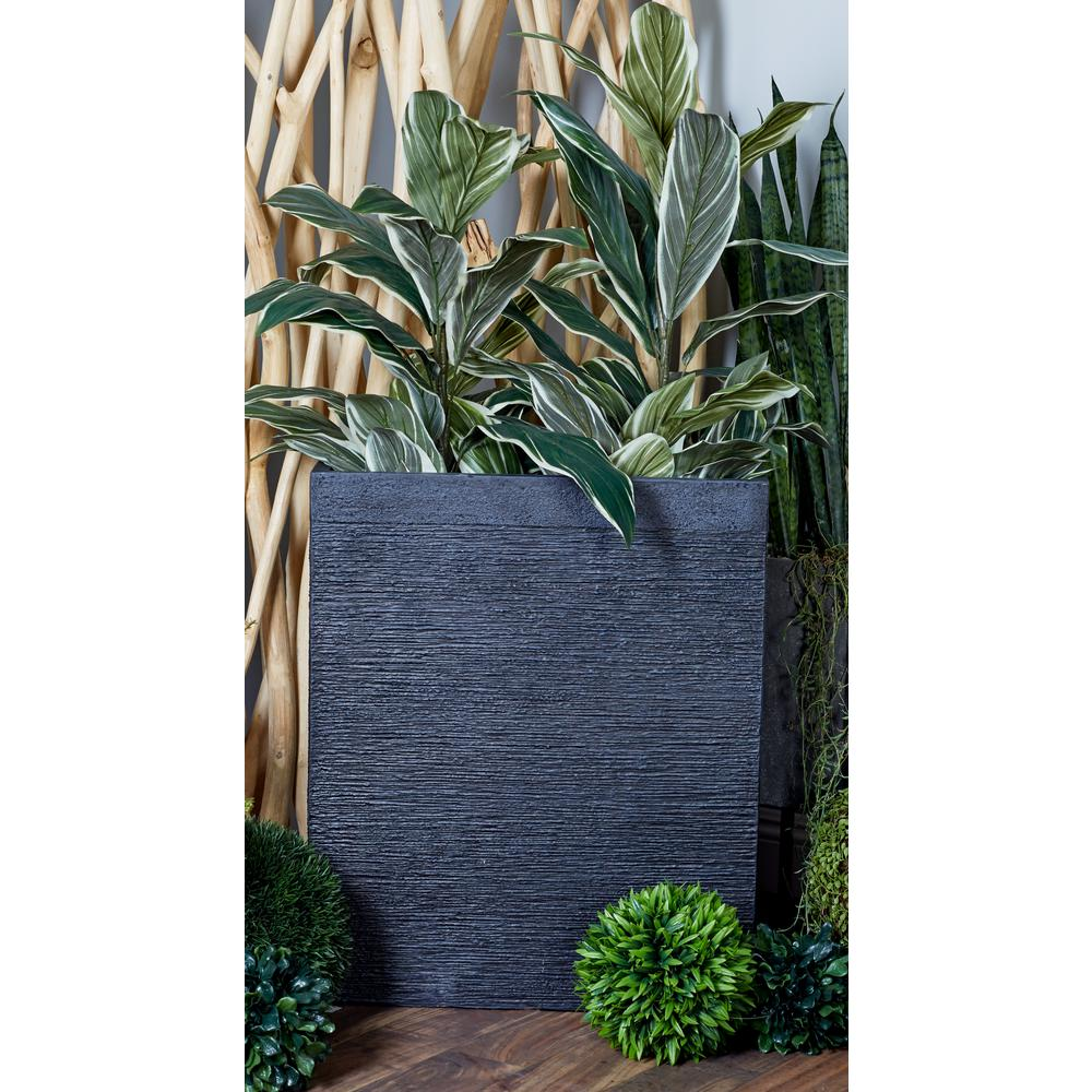 Black Fiber Clay Rectangular Planters Set Of 2