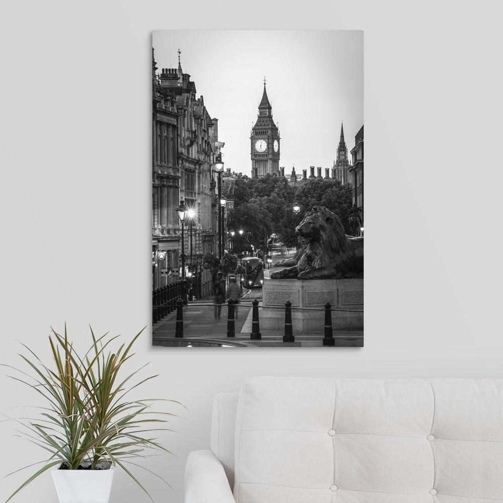Greatbigcanvas Black And White Trafalgar Square And Big Ben London