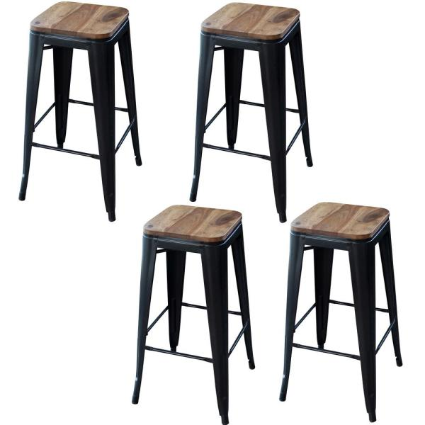 AmeriHome 30 in. Black Bar Stool Set with Rosewood Top (4-Piece)