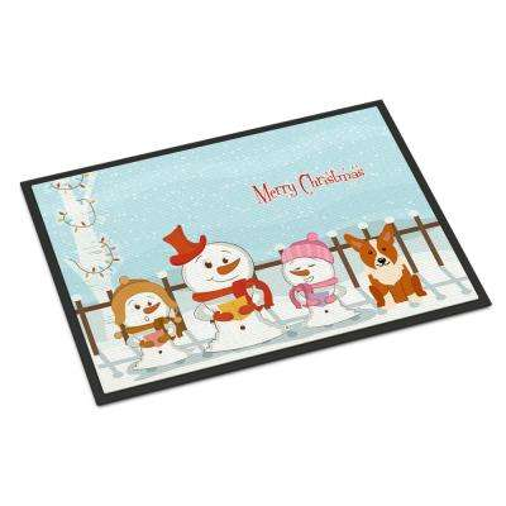 24 in. x 36 in. Indoor/Outdoor Merry Christmas Carolers Corgi Door Mat