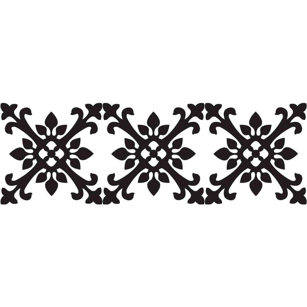 null 6.5 in. x 16 ft. Black and White Tangier Stripe Wall Decal