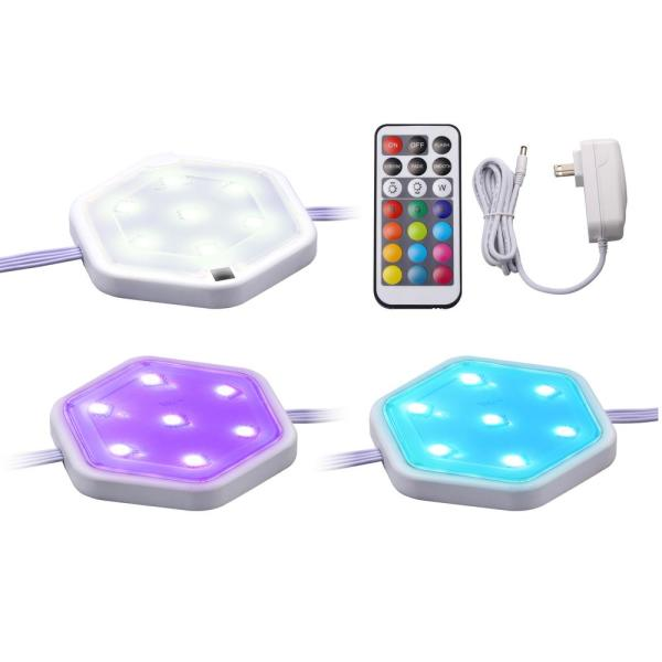 LED Puck Light Kit RGB Color Changing (3-Pack)