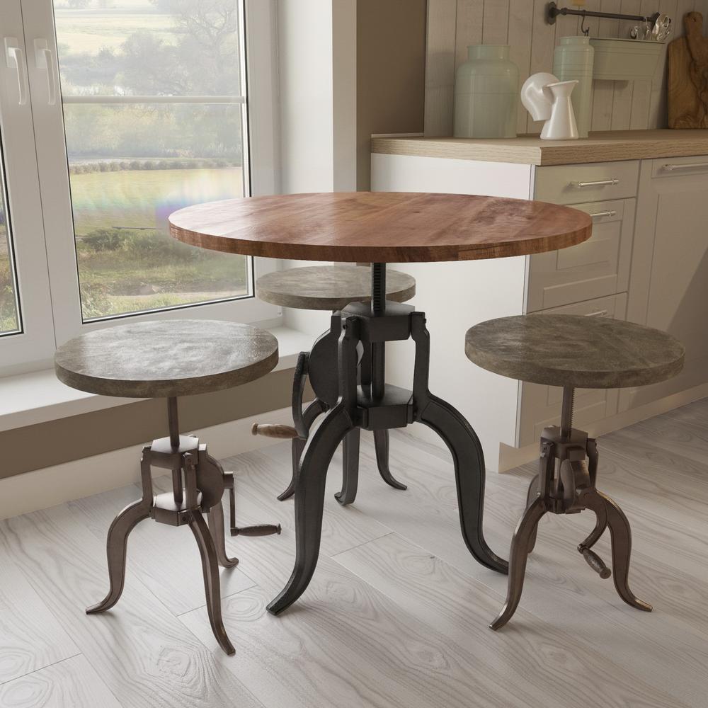 Yosemite Home Decor Cast Iron and Natural Mango Adjustable Bar Table