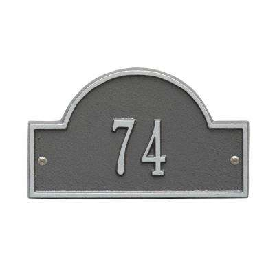 Arch Marker Petite Pewter/Silver Wall 1-Line Address Plaque