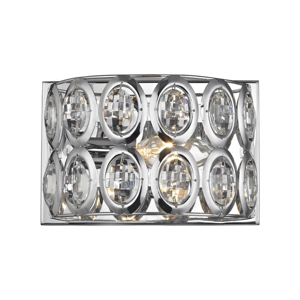 Tessa 1-Light Polished Chrome with Clear Crystal Bath Light