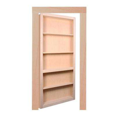 36 in. x 80 in. Flush Mount Ready-to-Assemble Unfinished Maple Interior Bookcase Door with Trim Molding