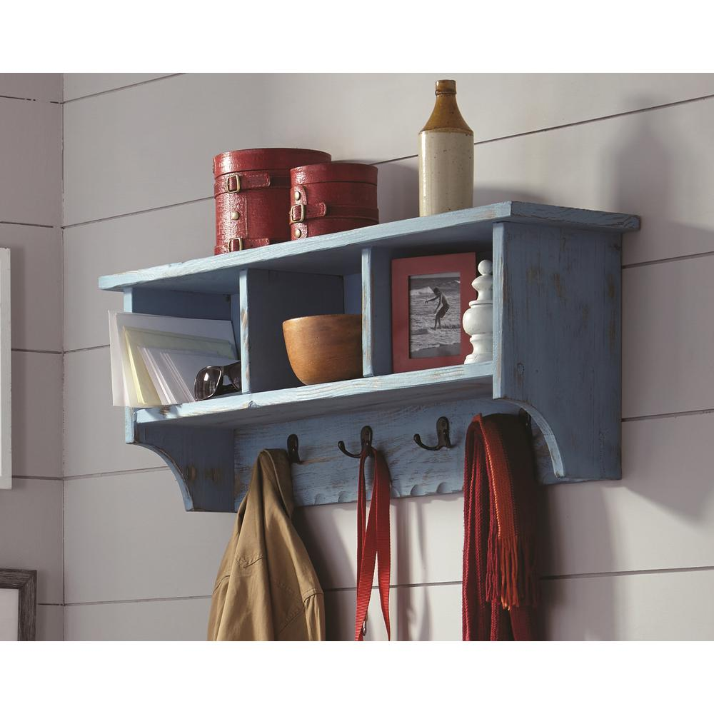Alaterre Furniture Country Cottage Blue Antique Coat Hook With Storage Cubbies